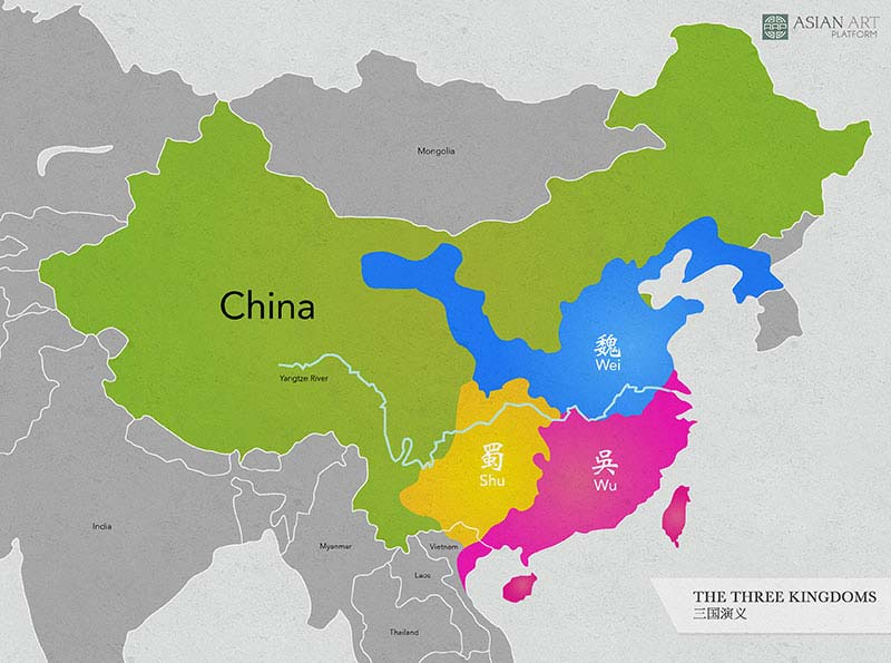 Map which shows the three kingdoms from china